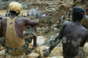 Workers digging for minerals in the mines