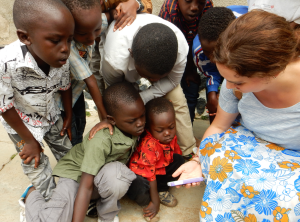 Alli with the children of Bunia